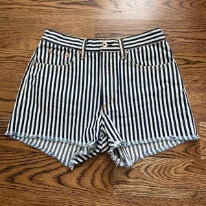 NWOT Rag & Bone stripped denim cutoff shorts